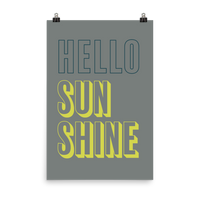 "This is an art print featuring a dark grey background with marine blue and bright yellow all caps type that says, ""Hello sunshine."""