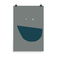 This is an art print featuring a giant happy, smiling face of light blue eyes and a big marine blue smile on a grey background.
