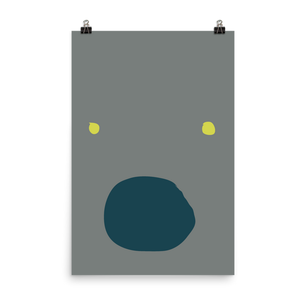 This art print shows a very surprised face, with bright yellow eyes and a  gaping blue mouth on a grey background.