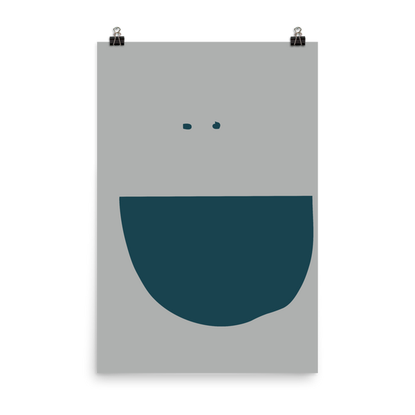 This is an art print featuring a happy face with close-set, navy eyes and a big navy blue smile on a light grey background.