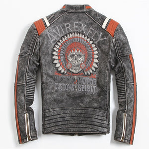 old school skull leather jacket for motorcycles