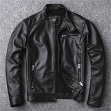 Free shipping.classic motor style,vintage genuine leather Jacket,fashion men brown Leather coat,street biker coat,sales