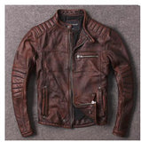 Ribbed Leather Motorcycle Jacket - 10% Discount