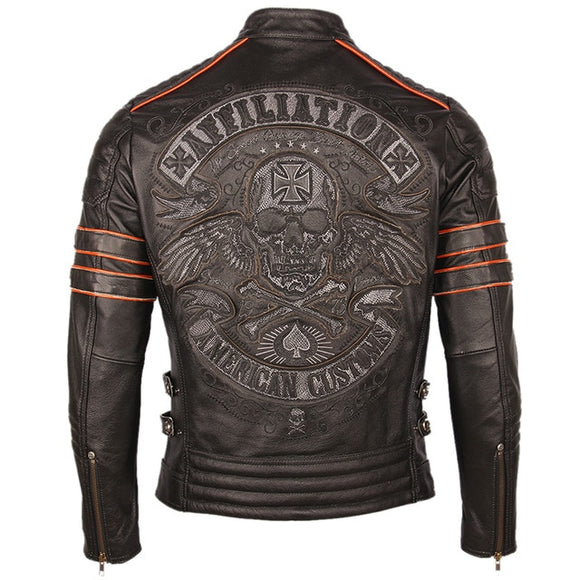Skull motorcycle leather jacket