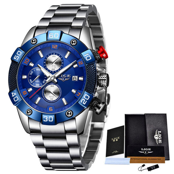 Stainless steel quartz watch water-resistant to 3 bar depth.