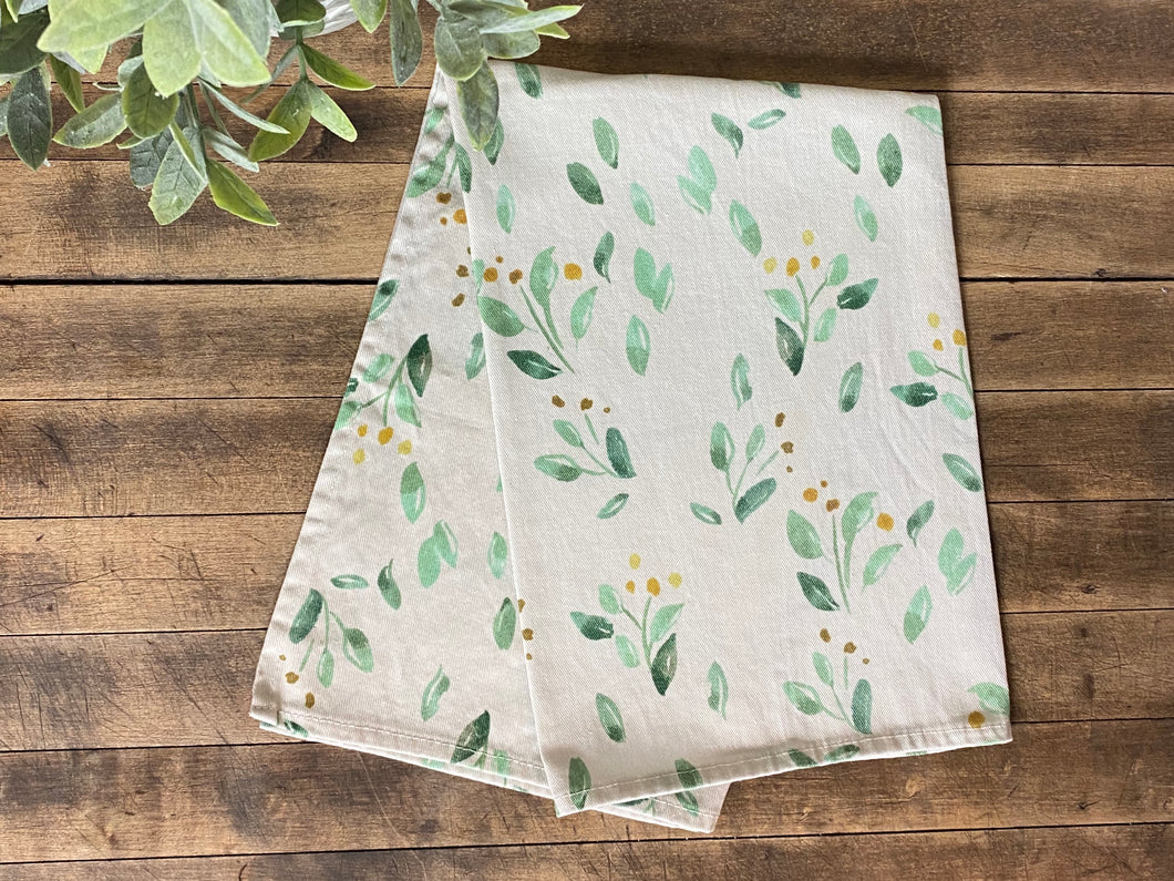 Watercolor Greenery Towel