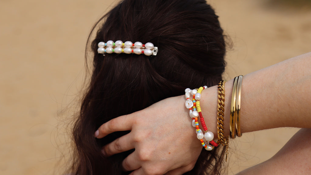 Barrette Hair Clip with beads and pearls
