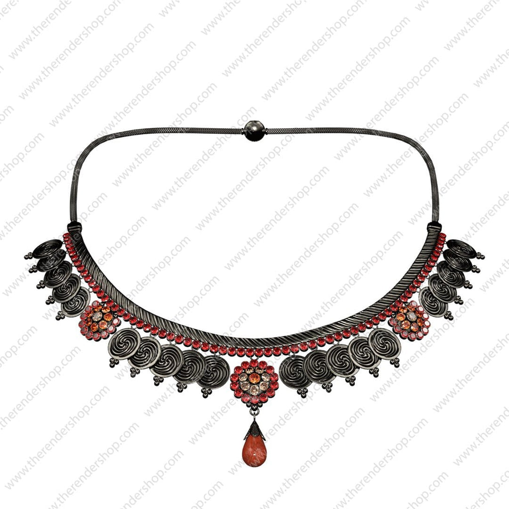 Ornate Necklace - Dark with red