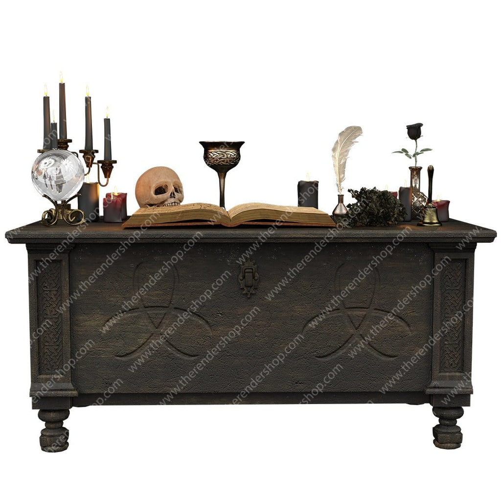 Credenza with magic supplies