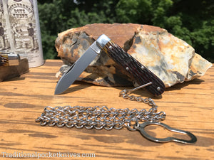 Great Eastern Cutlery #152118 Bail&Chain Tidioute Cutlery Huckleberry Boys Knife Antique Yellow Jig Bone