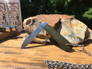Great Eastern Cutlery #152118 Bail&Chain Tidioute Cutlery Huckleberry Boys Knife OD Green Linen Micarta