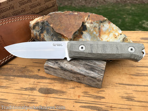 LionSteel B40 Bushcraft Knife Green Canvas Micarta (B40 CVG)