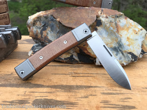 LionSteel BestMan One Blade Jack Drop Point Natural Canvas Micarta (BM2 CVN)