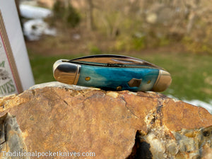 Great Eastern Cutlery #190120 Northfield UN-X-LD Little Rattler Blue Teal Natural Bone