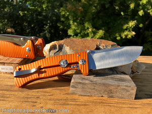 LionSteel SR1-A1 Orange Aluminum Folding Knife (SR1AOS)