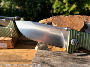 LionSteel SR1-A1 Green Aluminum Folding Knife (SR1AGS)