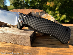 LionSteel SR1-A1 Black Aluminum Folding Knife (SR1ABS)