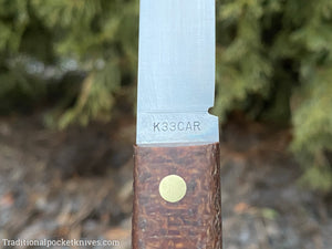 Great Eastern Cutlery #K33CAR Bunkhouse Brand Steak Knife Rustic Brown Burlap