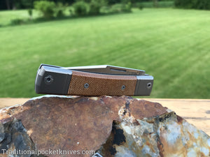LionSteel BestMan One Blade Jack Natural Canvas Micarta (BM1 CVN)