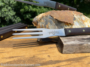 Great Eastern Cutlery #K34CAR Bunkhouse Brand Steak Fork Rustic Brown Burlap