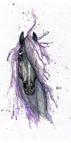 Tatouage Cheval Aquarelle Violet