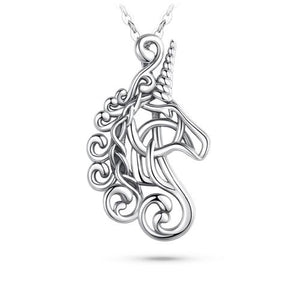 COLLIER CHEVAL <br> LICORNE NOBLE [ARGENT]