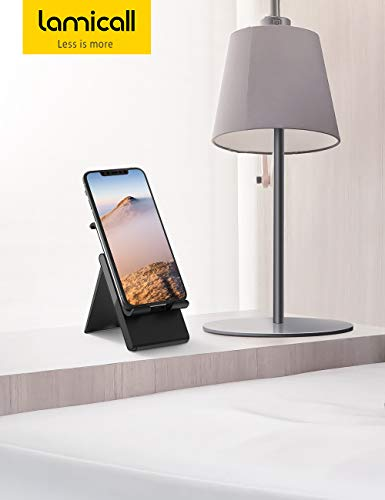 "Lamicall Adjustable Phone Stand - Foldable Phone Holder Desk Stand, Dock, Cradle Compatible with Phone 11 Pro Xs Max XR X 8 7 6S Plus, HUAWEI, Samsung S10 S9 S8 S7, All 4-8"" Phones - Black"