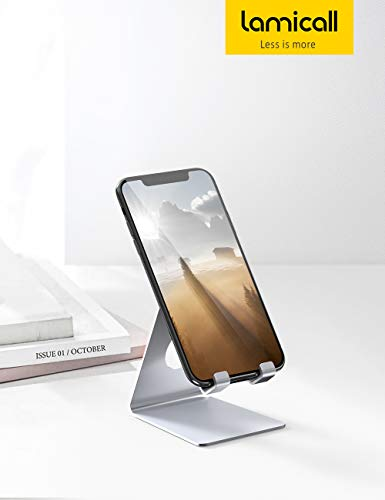 Phone Stand, Lamicall Phone Dock : Universal Stand, Cradle, Holder, Dock Compatible with Phone 11 Pro Xs Max XR X 8 7 6S Plus, Nintendo Switch, HUAWEI, Samsung S10 S9 S8, other Smart Phones - Silver