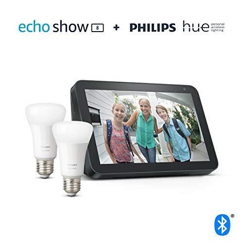 Echo Show 8, Charcoal Fabric + Philips Hue White Smart Bulb Twin Pack LED (E27) | Bluetooth & ZigBee compatible (no hub required)
