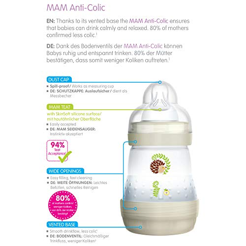 MAM Easy Start Self Sterilising Anti-Colic Baby Bottle 2 Pack, 260 ml with Medium Flow MAM Teats, Newborn Essentials, Grey (Designs May Vary)
