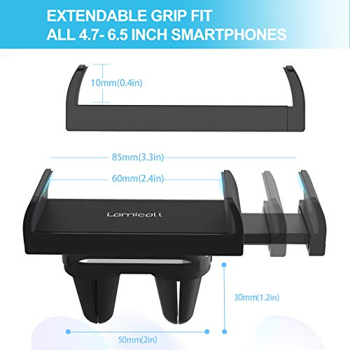 Lamicall Car Phone Holder, Universal Vent Mount : 360 Rotating Air Vent Cradle Stand for Phone 11 Pro Xs XR 8 X 8P 7 7P 6S, Samsung S10 S9 S8 S7, Huawei, more Mobile Phones - Black [Dual Vent Clips]