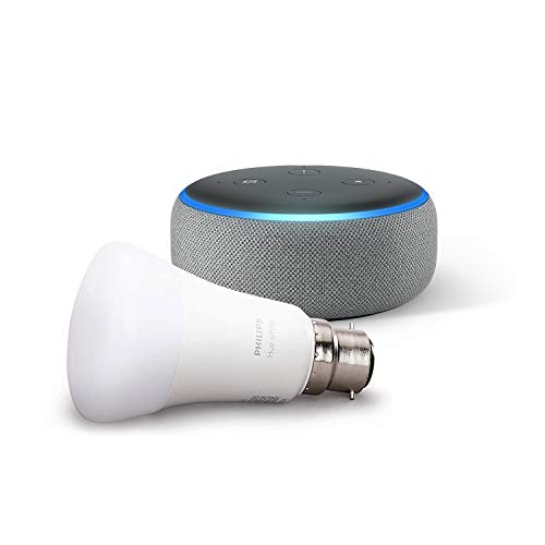 Echo Dot (3rd Gen), Heather Grey Fabric + Philips Hue White Smart Bulb LED (B22) | Bluetooth & ZigBee compatible (no hub required)