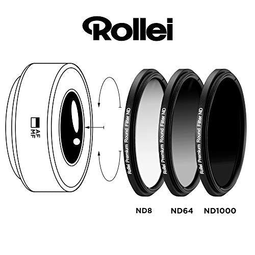 Rollei Premium Round Filter Set consisting of: 1x ND8, ND64 and ND1000 filters each made of Gorilla Glass with aluminium ring and protective cap.