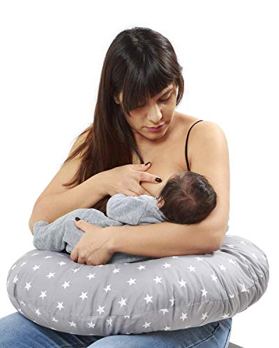 Niimo Nursing Pillow Breastfeeding Baby Maternity Pillow + Pillow Cover 100% Cotton Removable-Washable Inner Filling Polyester Fiber Multifunctional for Mom and Baby (Grey)