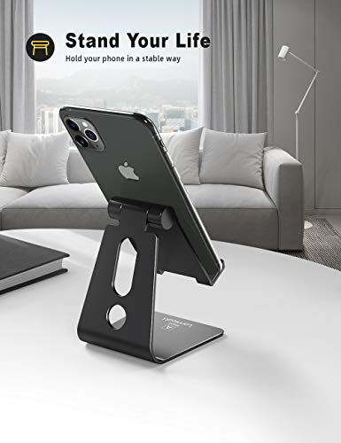 Lamicall Phone Stand, Adjustable Phone Dock - Universal Stand, Holder, Dock Compatible with Phone 11 Pro Xs Xs Max XR X 8 7 6S Plus, HUAWEI, Samsung S10 S9, All 3.5-8 inch Devices - Black