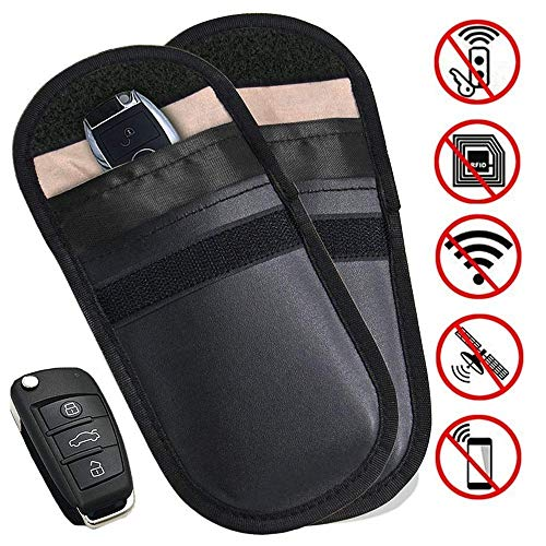 2 X Car Key Signal Blocker Pouch, Faraday Bag for Car Keys, RFID Key Pouch, Keyless Signal Blocking Key Case, Anti-theft Remote Entry Smart Fobs Protection by MONOJOY