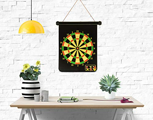 WICKED GIZMOS ® Roll Up Dart Game – Extra Large Double Sided Reversible Magnetic Hanging Dartboard and Target with 6 Colour Darts – Safe to Play with No Sharp Pins – Hangs on Door or Wall