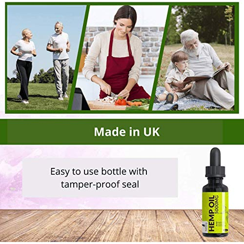 High Strength Hemp Oil Drops - 100% Pure - Vegan - Made in UK by NutriZing - Large 30ml Bottle