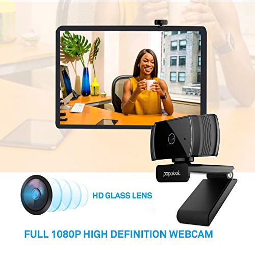 PAPALOOK HD 1080P Webcam AF925 with Auto Focus, Fold-and-Go Design, 360-Degree Swivel, Noise Reduction Microphone, USB Computer Laptop Camera - Black