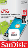 SanDisk Ultra 16 GB microSDHC Class 10 Memory Card up to 48 Mbps - White/Grey