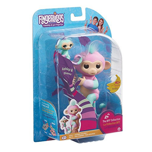 Fingerlings Baby Monkey BFFs - Ashley (Pink) & Chance (Mini) - Interactive Pet - By WowWee