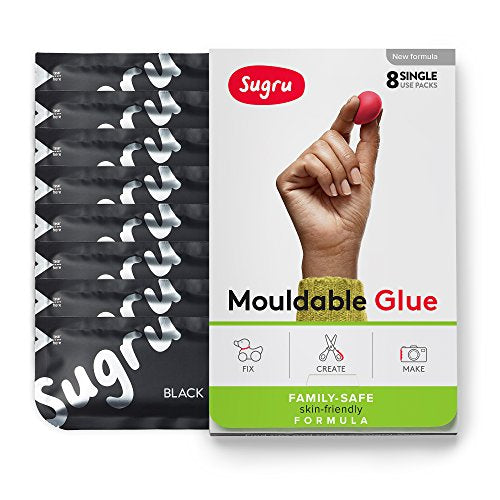 Sugru Mouldable Glue - Family-Safe - All-Purpose Adhesive, Suitable for Children - Holds up to 2 kg - Black 8-Pack