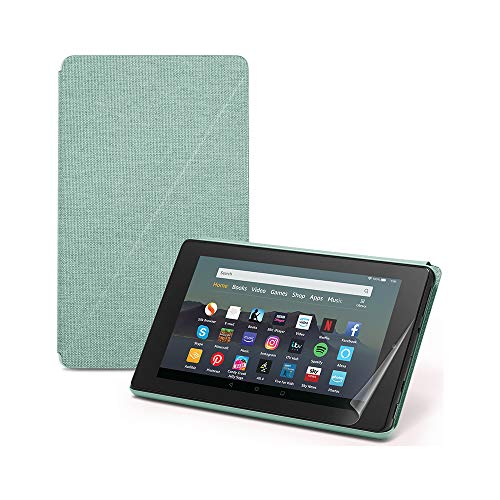 "Fire 7 Essentials Bundle | Includes Fire 7 Tablet (Black) with Alexa, 7"" Display, 16 GB; with Special Offers, Amazon Cover (Sage) and NuPro Screen Protector Kit (2-pack)"