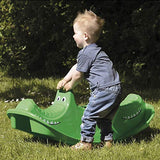Dantoy 3 Persons Rocker and Seesaw, Durable Plastic with 3 Seats and Made in Denmark – Green Crocodile