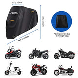 Favoto Waterproof Motorcycle Cover XXL190T Motorbike Cover 245cm long UV Scratch Bird Droppings Heat-Resistant Outdoor Protection Black 96.5x41x50 inch