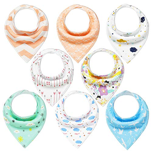 Baby Bandana Dribble Bibs Drool Bibs for Drooling and Teething 8 Pack Super Soft and Absorbent for Boys Girls by YOOFOSS