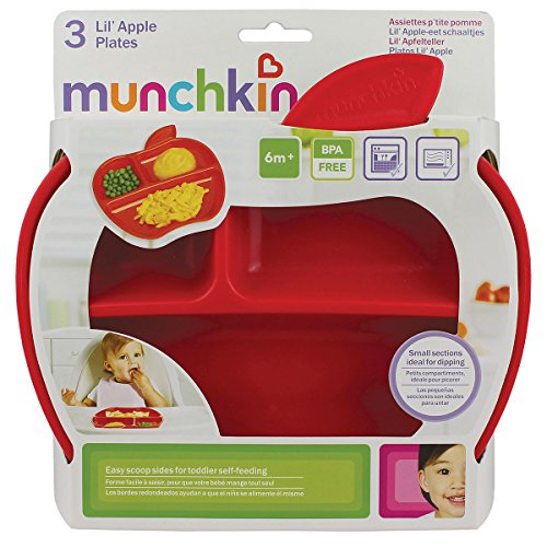 Munchkin Lil' Apple Divided Toddler Plates, Pack of 3