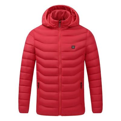 2020 NWE Men Winter Warm USB Heating Jackets Smart Thermostat Pure Color Hooded Heated Clothing Waterproof Warm Jackets - Smoothpushstore