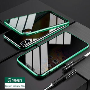 Privacy Magnetic Adsorption 360 Protect Case for Iphone 11 pro Xs Max xr x SE 2020 Tempered Glass Magnetique Coque Antispy Cover - Smoothpushstore