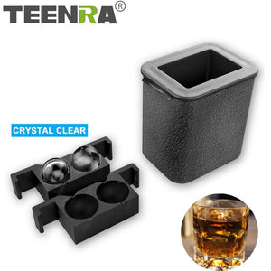 TEENRA 2 In 1 Crystal Clear Ice Ball Maker Silicone Ice Mold Tray Ice Cube Maker Tray Round Sphere Mold Food Grade Kitchen Tools - Smoothpushstore